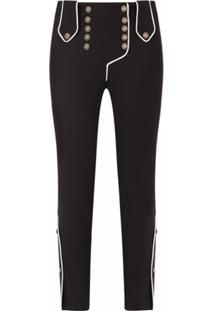 Dolce & Gabbana Calça Cintura Baixa Com Botões Decorativos - Preto