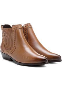 Bota Couro Chelsea Shoestock Cravinhos Feminina - Feminino-Caramelo