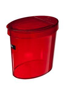 Lixeira Oval Glass 26,2 X 18,4 X 24,6 Cm 5 L Vermelho Transparente Coza