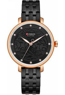 Relógio Curren Analógico C9046L Feminino - Feminino-Preto
