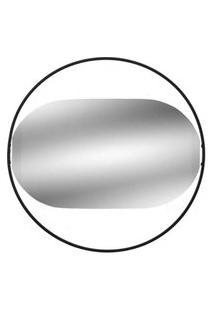 Espelho De Parede Oval Com Moldura Preta 35 Cm - Mabruk