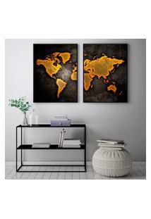 Quadro Oppen House 70X100Cm Mapa Mundi Marrom Abstrato Decorativo Interiores Sala De Estar Quartos Moldura Preta Com Vidro