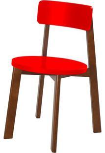 Cadeira Lina Cor Cacau Com Vermelho - 31531 - Sun House