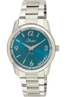 Relógio Feminino Condor Analógico Co2035Kuq/3A Azu - Unissex-Prata