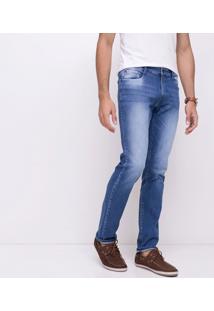 Calça Jeans Slim Com Lavagem