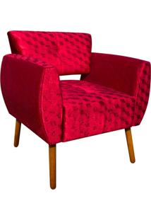 Poltrona Decorativa Josy Acetinado Vermelho Trabalhado Pés Palito - D'Rossi