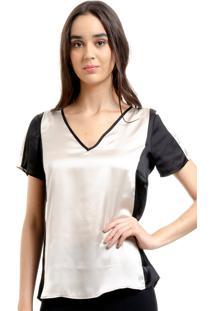 Blusa 101 Resort Wear Tunica Decote V Cetim Bicolor Perola Preto