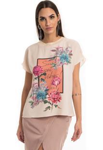 T-Shirt Estampada Gola De Tricô