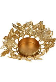 Castiçal De Mesa Golden Flower Dourado Para 1 Vela