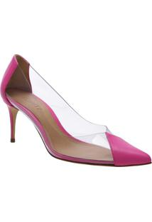 Scarpin Com Recortes- Incolor & Pink- Salto: 7Cmschutz