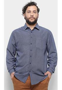 3f8c98264d574b Camisa Delkor Manga Longa Plus Size Masculina - Masculino-Azul