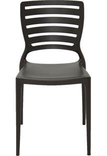 Cadeira Sofia Sem Braço Encosto Vazado Marrom Tramontina