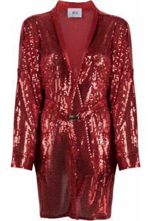 Atu Body Couture Casaco Com Cinto E Aplicação De Paetês - Vermelho