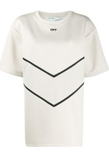 Off-White Blusa Mangas Curtas - Neutro