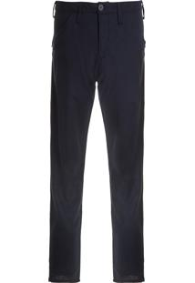 Calça Masculina Color Recortes E Zíper - Azul
