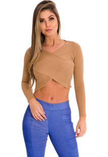 Blusa Beautifull Hit Cropped Cruzado Camel