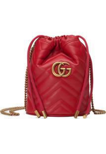 Gucci Bolsa Bucket Gg Marmont Mini - Vermelho
