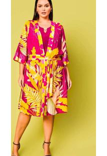 Kimono Midi Almaria Plus Size Planchet Estampado R