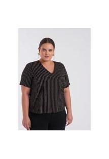 Blusa Com Listras E Gola V Curve & Plus Size | Ashua Curve E Plus Size | Preto | Gg