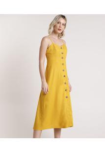 Vestido Feminino Midi Com Linho E Botões Alça Fina Mostarda