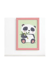 Quadro Animais Panda Moldura Rosa 22X32Cm