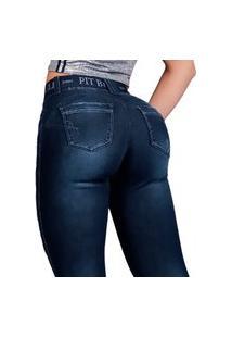 Calça Feminina Pit Bull Jeans 37005 Pitbull Com Cinto Azul