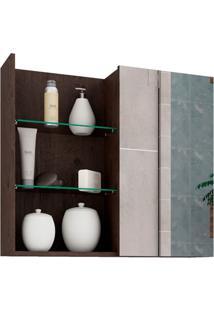 Espelheira Suspensa Para Banheiro Jasmim 54X60Cm Café