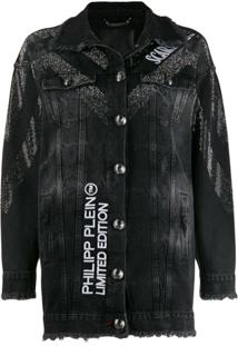 Philipp Plein Jaqueta Jeans Scarface - Preto
