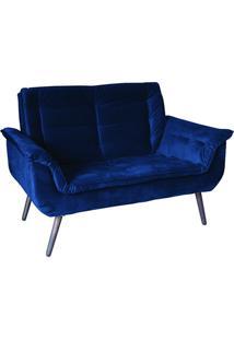 Poltrona Decorativa Monica Azul 2 Lugares Com Pés De Madeira - Matrix