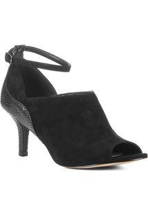 Ankle Boot Couro Shoestock Snake Curves Feminina - Feminino-Preto