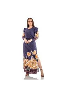 Vestido Longo Com Estampa Exclusiva Hadaza Azul