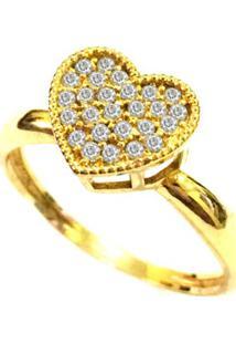 Anel Prata Mil Coração De Ouro C/ Zircônia Ouro - Kanui