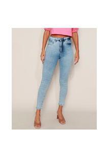 Calça Jeans Feminina Sawary Super Skinny 360 Cintura Alta Marmorizada Azul Claro