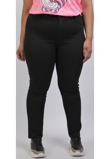 Calça Jeans Feminina Plus Size Sawary Super Skinny Cintura Alta Preta