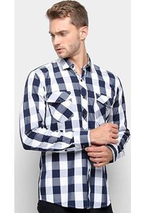 Camisa Xadrez Watkins & Krown Masculina - Masculino-Azul+Branco