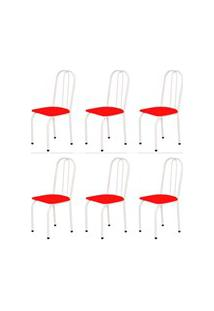 Kit 6 Cadeiras Baixas 0.101 Assento Reto Branco/Vermelho - Marcheli