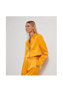 Blazer Cropped Em Cetim Com Botão Forrado | Just Be | Amarelo | Pp