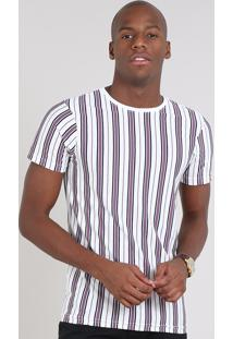 Camiseta Masculina Slim Fit Listrada Manga Curta Gola Careca Off White