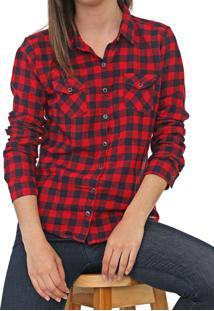 Camisa Polo Wear Xadrez Vichy Flanela Vermelha