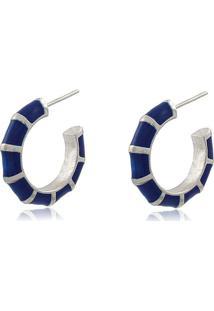 Brinco Viva Jolie Argola Pequena Colors Azul Marinho Ródio - Kanui