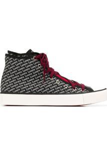 Lanvin Logo Print High-Top Sneakers - Preto