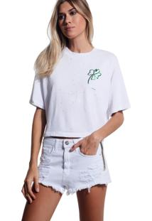 Camiseta John John Luck Malha Off White Feminina (Off White, Gg)