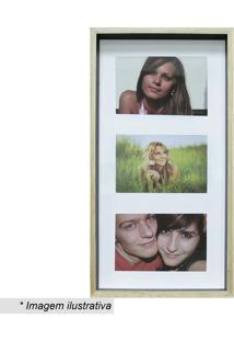 Painel Color Wood Para 3 Fotos- Bege Claro & Preto- Kapos