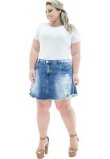 8aa2780be R$ 149,90. Zattini Saia Jeans Lycra Evasê Plus Size ...