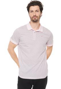 Camisa Polo Colombo Reta Listrada Rosa/Cinza