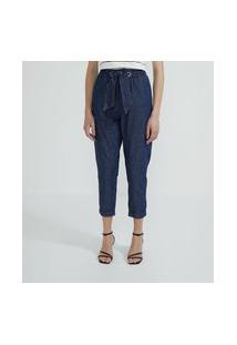 Calça Baggy Em Jeans Com Laço Na Cintura   Cortelle   Azul   40