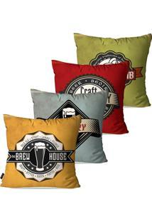 Kit Com 4 Capas Para Almofadas Pump Up Decorativas Coloridas Brewery Retrã´ 45X45Cm - Verde - Dafiti