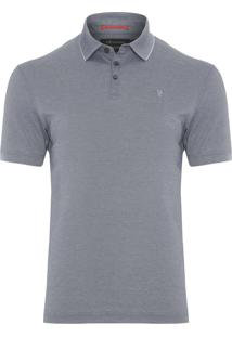 Polo Masculina Interlock Oxford - Cinza