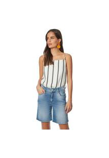 Bermuda Maria Valentina Comfort Galão Lateral Jeans
