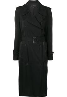 Tom Ford Trench Coat Com Abaotoamento Duplo - Preto